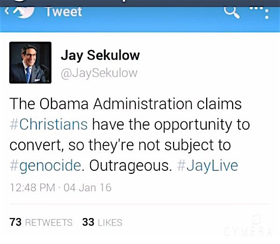 Obama Admin on Christian Genocide